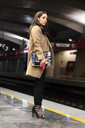 charcoal gray Zara sweater - camel asos coat - gold Frends accessories