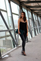 black Zara leggings - teal Zara bag - black Zara heels - black Nordstrom top