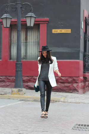 black H&M hat - heather gray Zara sweater - white Zara blazer - teal Zara bag