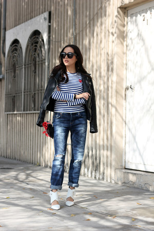 black Zara jacket - blue Pull & Bear jeans - black Celine sunglasses