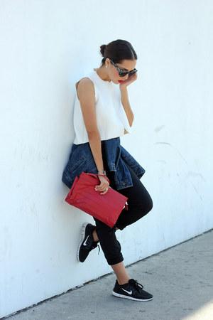 black asos sunglasses - blue Wrangler jacket - red vintage bag