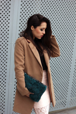 light pink keepsake skirt - camel asoscom coat - black Zara sweater