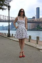 cherry print Topshop dress - Mango sunglasses - red suede sam edelman heels
