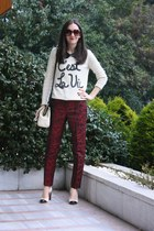 Forever 21 sweater - kate spade purse - H&M pants - banana republic heels