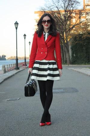Zara blazer - kate spade purse - Catch Bliss skirt - De Janeiro top - Zara heels