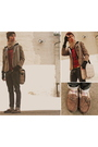 Brown-jcrew-blazer-red-american-apparel-shirt-beige-burberry-accessories-b