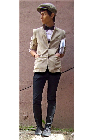 hat - tie - shirt - blazer - pants - shoes