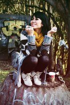 beige trouve boots - wool H&M sweater - black trouve shirt - black Forever 21 ti