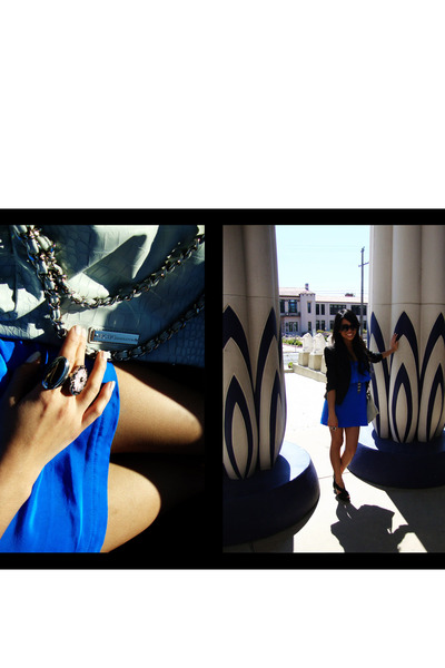 blue eight sixty dress - black Aldo shoes - white BCBG bag - black H&M accessori