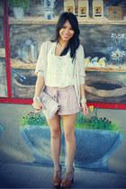 fringe clutch H&M bag - tie waist Forever 21 shorts - Frenchi cardigan - Bellatr