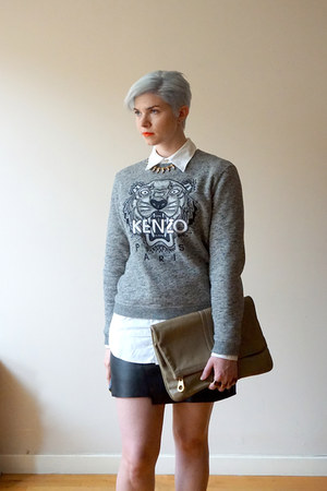 heather gray Kenzo sweatshirt - white everlane shirt