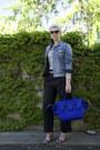 Light-blue-classic-jean-jcrew-jacket-blue-trapeze-celine-bag