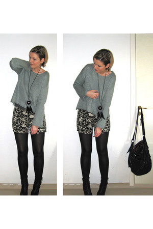 dark gray Bik Bok shorts - black asos boots - light blue GINA TRICOT sweater