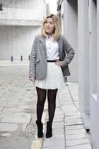 Zara blazer - Zara boots - vintage blouse - H&M skirt