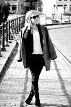 Zara boots - Bershka coat - Zara jeans - Forever 21 blazer