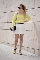 black vintage bag - light yellow new look sweater - black sunglasses