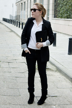 Pimkie blazer - Zara boots - H&M jeans - gift bag - vintage vest