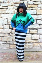 green vintage sweater - blue sweater sweater - black striped H&M skirt