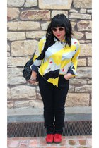 yellow vintage blouse - red suede thrift shoes - black hi waisted BDG jeans