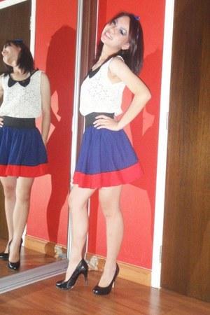 full skirt shirt - lace top blouse - skirt - pumps