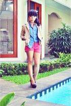 camel cotton blazer - hot pink tan bag - hot pink cotton pants - black tan heels