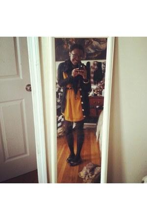 bronze Tahari flats - mustard H&M dress - black American Apparel cardigan