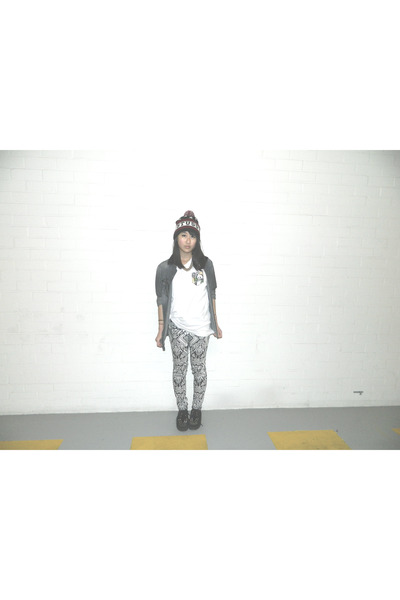 black gift shoes - white DIY shirt - black H&M pants - gray the Sting blouse