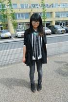 black a little shop in the hague boots - black H&M jacket - gray Vila leggings