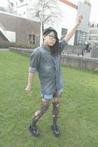 navy denim DIY shorts shorts - black gift shoes - black woll asos hat