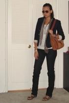 vintage blazer - vintage sweater - forever 21 t-shirt - Macys jeans - vintage pu