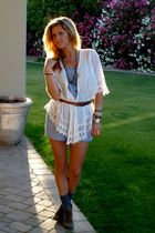 white Forever 21 blouse - blue Forever 21 shorts - orange vintage belt - brown e