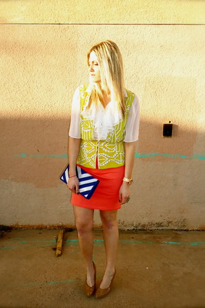 white Sugar Lips blouse - chartreuse Nanette Lepore vest - carrot orange Forever