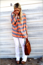 white Seven For All Mankind jeans - tawny Charles David bag - carrot orange asos