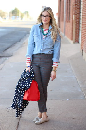 ruby red ann taylor shirt - blue J Crew shirt - gray Anthropologie pants