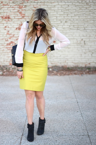 chartreuse J Crew skirt - black Chanel bag - white Fun 2 Fun top