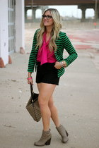 green Tobi blazer - camel Gucci bag - hot pink vintage blouse