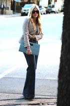 silver Zara blazer - navy J Brand jeans - black versace sunglasses