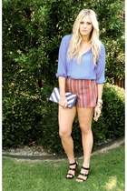 crimson Forever21 shorts - blue H&M blouse - black Lauren Conrad heels