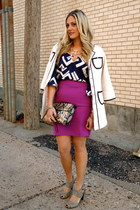 magenta JCP skirt - white Priorities jacket - Rebecca Minkoff bag