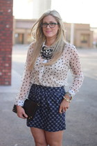 white Maude blouse - navy Gap skirt