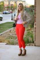 red J Crew pants - black Chanel bag