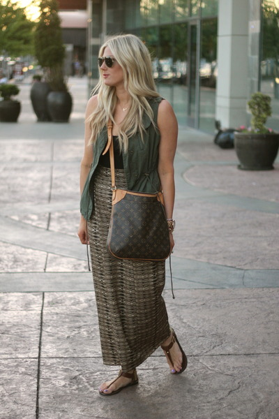 dark brown Louis Vuitton bag - light brown Forever 21 skirt