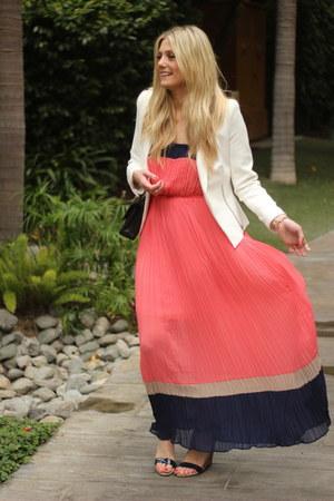 white Zara blazer - hot pink Romeo & Juliet Couture dress