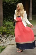 white Zara blazer - hot pink Romeo & Juliet Couture dress