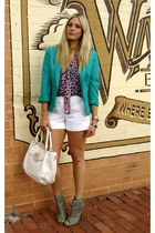 turquoise blue vintage blazer - white tory burch bag