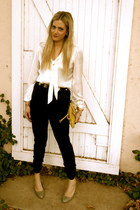 white Macys blouse - black Forever 21 pants - silver Rampage heels