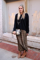 dark green Forever 21 skirt - dark gray Rebecca Minkoff bag