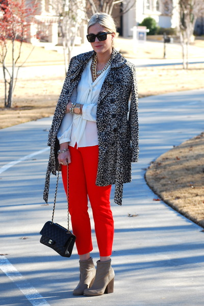 red J Crew pants - black Chanel bag - white Anne Klein blouse