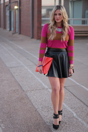 black Forever 21 skirt - hot pink Old Navy sweater - carrot orange asos bag