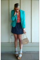 turquoise blue vintage blazer - navy Gap skirt - salmon NY & Company blouse